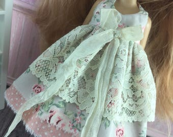Blythe Vintage Lace Dress - Taupe Floral with Apricot Spot