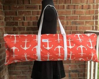 Yoga Mat Bag with Pocket / Yoga Bag / Anchors / Yoga Tote / Gift idea / yoga accessory / Bag with zipper / Nautical Bag / Coral / White