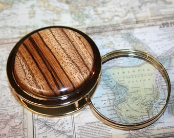 Handcrafted African Zebrawood Magnifying Glass Paperweight in a Beautiful 24 ct Gold Finish