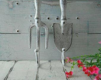 garden tool hooks aged white wall hooks she shed decor shabby hook coat hook french country rustic garden decor cottage chic MADE TO ORDER