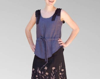 Tunic dress long linen purple and black embroidery