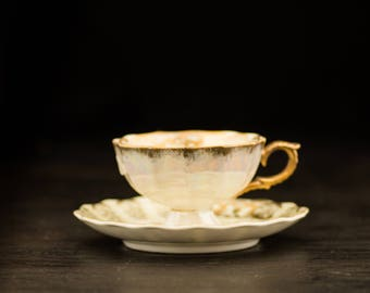 Vintage Gold Teacup With Plate