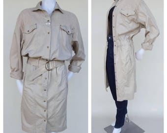 FLASH SALE Khaki Dress / Khaki Jacket / 80s Jacket / 80s Dress