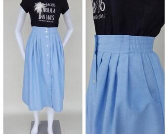 Chambray Skirt / 80s Skirt / Vintage Skirt / Blue Skirt