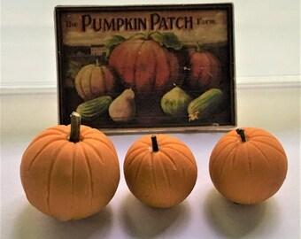 Dollhouse Miniature PUMPKINS with FARM SIGN Fall Autumn Halloween Thanksgiving Pumpkin Patch