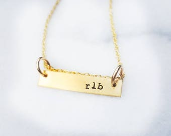 Horizontal Gold Bar Necklace - Gold Bar Necklace - Gold Bar Necklace personalize - Initial Bar Necklace Gold - Gold Bar Necklace Graduation