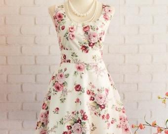 Flash SALE White dress Floral dress White sundress Floral summer dress White bridesmaid dresses Floral bridesmaid dress party dress tea dres