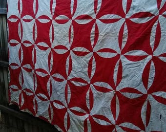 Vintage Red and White Quilt Top,Red Quilt Top,White Quilt Top,Orange Peel,Robbing Peter to Pay Paul,Cutter