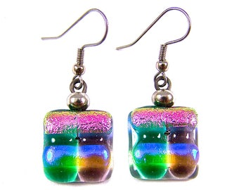 Dichroic Earrings - Purple Green Pink Blue Striped Dicro Rock Candy Dangle Surgical Steel French Wire or Clip On - Fused Glass - 3/4""