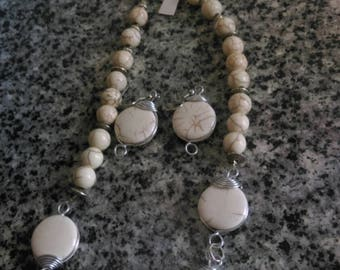 White Howlite  Necklace Set with Silver Accents
