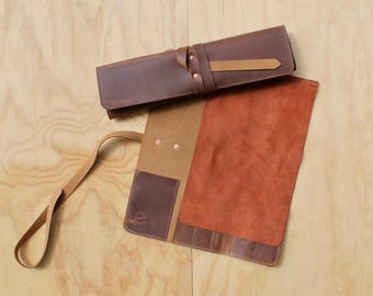 5 Slot Leather Knife Roll - Simple version - chef knife roll - leather knife bag - leather knife case - chef leather knife roll