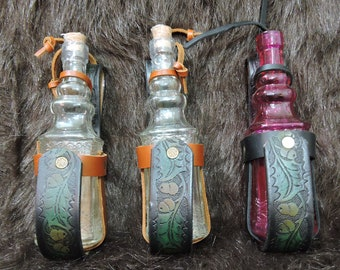 Instock Leather Bottle Holders, Bottle included, LARP, Cos Play, Steampunk