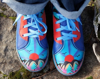80's Leather Painted Mountain Sunset Shoes
