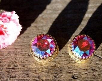 Statement Red Rhinestone Earrings