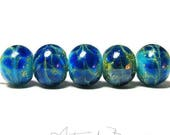 ChristmasInJuly Lapis Blue Drift Rounds - Handmade Artisan Lampwork Beads- SRA -B-195 - Blue glass with Silver - Craft Supplies & Tools -  F