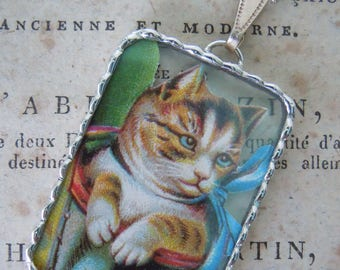 Fiona & The Fig - Vintage German Die Cut Scrap - Cat with Blue Bow - Soldered Charm - Necklace - Pendant-Jewelry