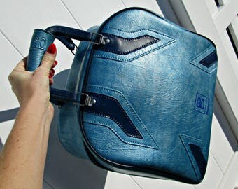 Vintage Brunswick Bowling Bag - Pearlescent Blue Marbled Pleather with Retro Stripes - UNIQUE Rockabilly Brunswick Bowling Bag - GOOD