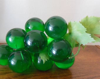 1950s Acrylic Grapes Cluster, Mounted on Wood Branch