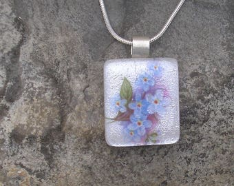 Forget Me Not Necklace Fused Dichroic Glass Floral Pendant