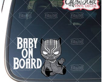 """Baby Black Panther """"BABY ON BOARD"""" Sign Vinyl Decal Sticker"""