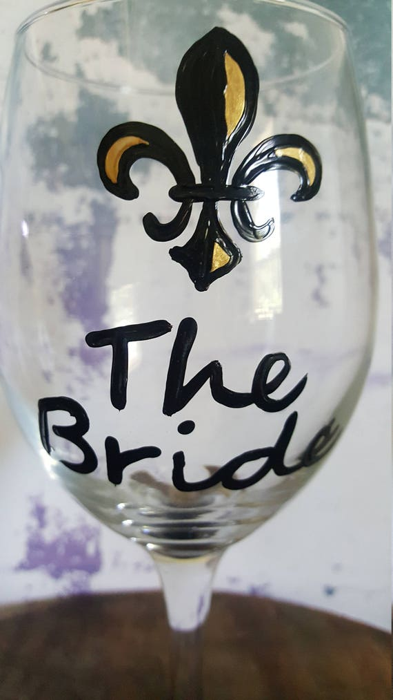 Bride Wine Glass, Bridal Shower Wine Glass, Bride Wine Glass, Bachelorette Wine Glass, NOLA weddins