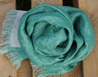 Linen double face  Scarf--Natural--Vintage--Soft--Green & natural light color