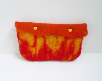 "Hand felted woolen ""flames"" pouch"