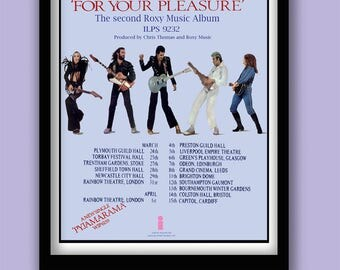 Roxy Music Poster. For Your Pleasure album tour promo. 70s rock poster. Rock wall art.Album art . Classic album poster. Glam rock poster.
