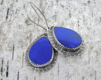 Bright Blue Lapis Earrings, Natural Gemstones, Sterling Silver and Lapis earrings, blue and silver, Artisan Made Earrings, Deep Cobalt Blue