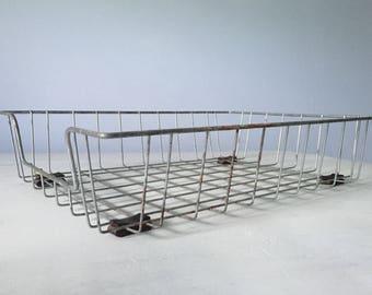Vintage Industrial Metal Wire Office Tray / Basket Organizer / Bin with Rubber Feet