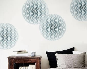 Flower of Life STENCIL for Walls - Sacred Geometry - 3 SIZES - Round stencil for Walls - Reusable Modern Wall Decor