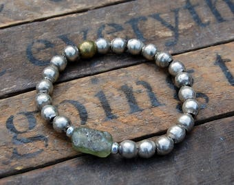 Ethiopian Silver Bead Bracelet - Sea Glass