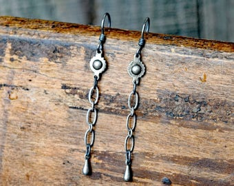 Ball & Cog Pewter Chain Earrings