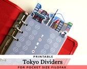 PRINTABLE Pocket Size Cute Kawaii Tokyo DIY Dividers 5 Top Tabs for Filofax Organiser Louis Vuitton PM, Kikki.K Small,  Instant Download