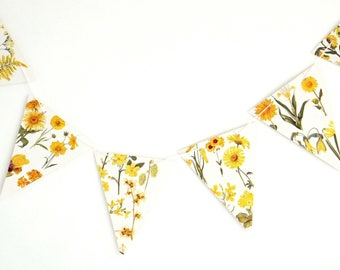 Yellow Botanical Bunting, recycled Garland, floral banner, spring bunting, wedding decor, flower garland, bridal shower decor