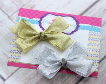 Baby Bows, Toddler Bows, Girls Hair Bow, Shimmery Shimmering Gold Hair Bow Headband, Floral Rose Headband, Elastic Headband, 3 Inch Hair Bow