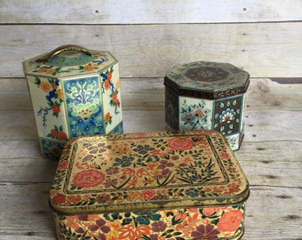 Charming Vintage Floral Tins Set of Three - Daher