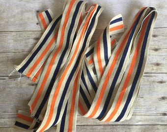 Vintage White, Blue, and Orange Ribbon - Striped - Stripes