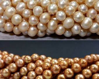 Small Pearl with Large Hole 6 to 7 mm Freshwater Pearl Potato Beads - Champagne or Light Champagne 1.6 mm hole June Birthstone (ET3006FSC)
