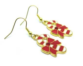 Candy Cane Gold Dangle Earrings