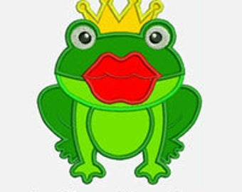 Kiss a Frog...Embroidery Applique Design...Three sizes for multiple hoop...item1151...INSTANT DOWNLOAD