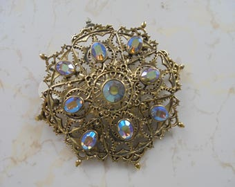 Vintage 1950s Large Brooch with Multi Colored Rhinestones and ornate details
