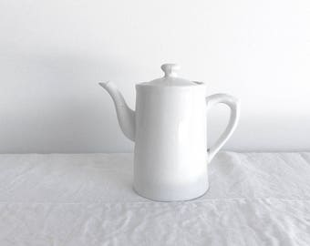 Vintage Coffee Pot India Vintage White Earthenware Coffee Pot