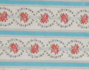vintage cotton fabric blue floral pillow ticking BTY stripe rose pink gray by the yard shabby cottage chic home decorating bedding sheet