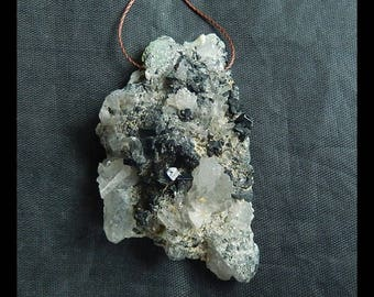 Nugget Babingtonite With Prehnite Gemstone Pendant Bead,56x35x19mm,34.5g(c0503)