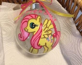 "My little pony Fluttershy 4""glass ornament"