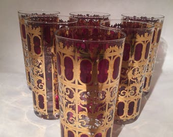 8 Cranberry Scroll Culver Highball Glasses