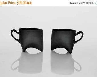 SALE Black Porcelain cups set of two , ceramic cups handmade coffee cups or tea cups by Ende