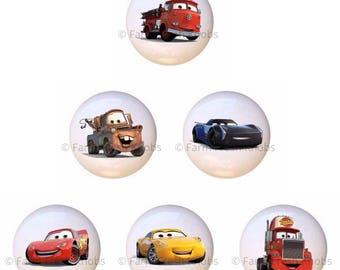 Set Of 6 KNOBS   Disney Cars   DECORATIVE Glossy CERAMIC Cupboard Cabinet  Pulls Dresser Drawer