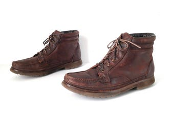 Size 11 M women's grunge CHUKKA 80s 90s Brown LEATHER ankle boot shoes